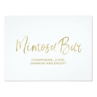 "Stylish Golden Wedding ""Mimosa Bar"" Sign Card"