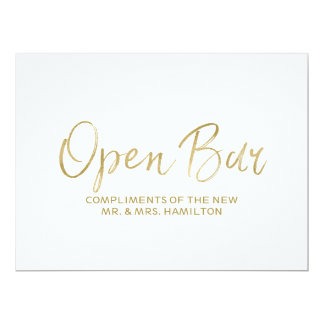 "Stylish Golden Wedding ""Open Bar Sign"" Sign Card"