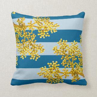Stylish Golden Yellow Flower Buds & Stripes Throw Pillow