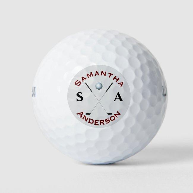 Stylish Golfer Monogram Cross Clubs Golf Balls