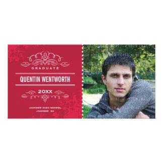 STYLISH GRAD PHOTOCARD modern graduate card red Photo Card