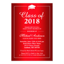 Stylish Gradient Hot Red Class Of Graduation Party Card