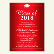 Stylish Gradient Hot Red Class Of Graduation Party Invitation