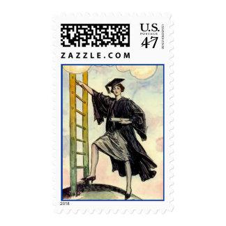 Stylish Graduate on Ladder of Success Postal STAMP