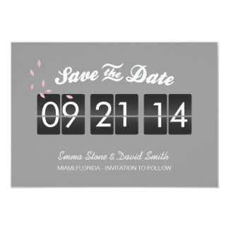 Stylish Gray Airport Timetable Save the Date Cards