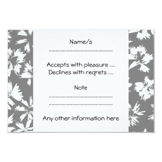Stylish Gray and White Floral Pattern. 3.5x5 Paper Invitation Card