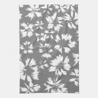 Stylish Gray and White Floral Pattern. Kitchen Towels