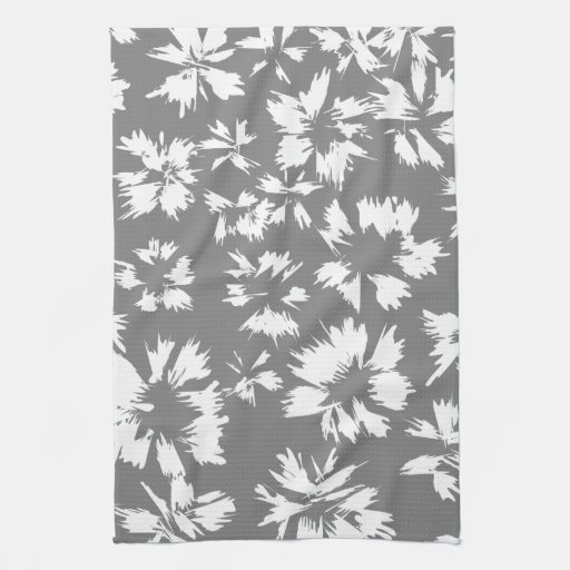stylish gray and white floral pattern kitchen towels zazzle. Black Bedroom Furniture Sets. Home Design Ideas