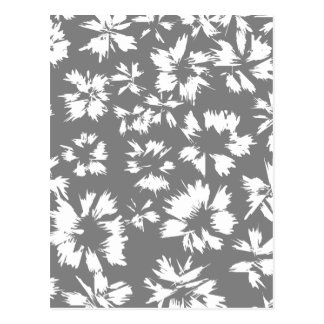 Stylish Gray and White Floral Pattern. Postcard