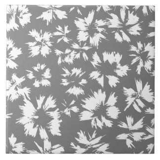 Stylish Gray and White Floral Pattern. Large Square Tile