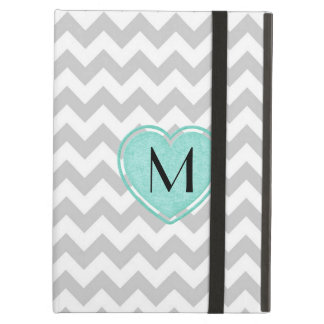 Stylish Gray Chevron Monogram iPad Air Case