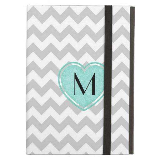 Stylish Gray Chevron Monogram iPad Case with Stand