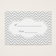 Stylish Gray Chevron Stripes Wedding Place Card at Zazzle