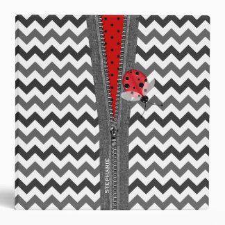 Stylish Gray Chevron Zipper & Red Ladybug Binder