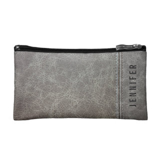 Stylish Gray Leather Look Cosmetic Bag