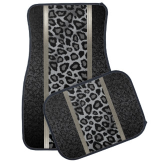 Stylish Gray Leopard Animal Print Pattern | Damask Car Floor Mat