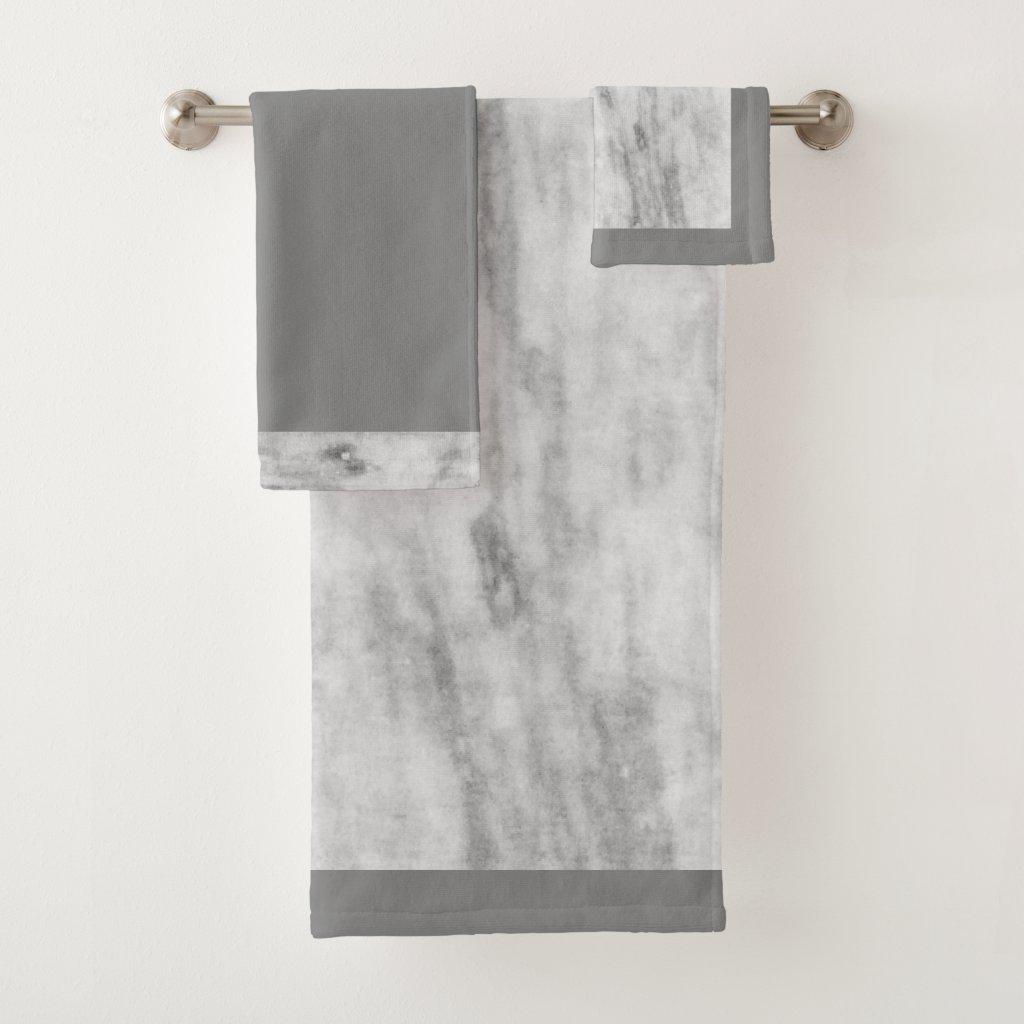 Stylish Gray Marble Print Bath Towel Set