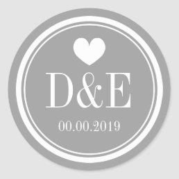 Stylish gray name monogram wedding favor stickers