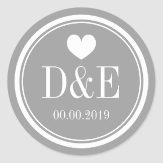 Stylish gray name monogram wedding favor stickers