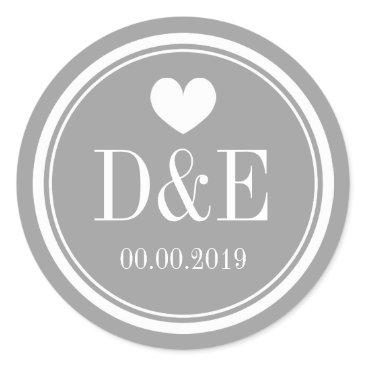 Valentines Themed Stylish gray name monogram wedding favor stickers