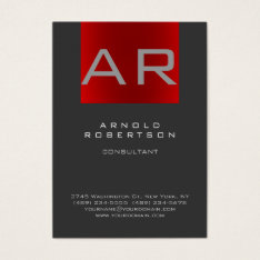 Stylish Gray Red Trendy Monogram Business Card at Zazzle