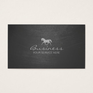 Stylish Gray Scratched Texture Horse Business Card