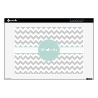 Stylish Gray & White Chevron Custom Laptop Skin