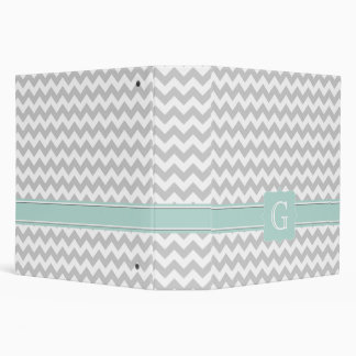 Stylish Gray & White Chevron Monogram Avery Binder