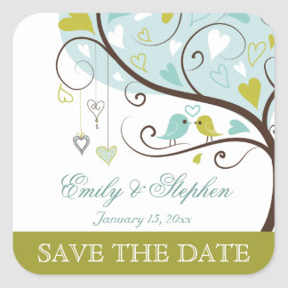 Stylish green and blue love birds save the date square sticker