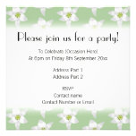 Stylish Green and White Lily Pattern. Announcements