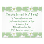 Stylish Green and White Lily Pattern. Personalized Invites