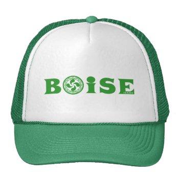 Stylish Green Basque Boise Logo (with Lauburu)  Trucker Hat by RWdesigning at Zazzle