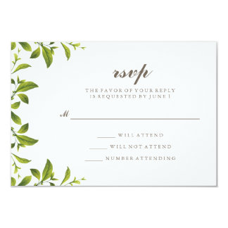 Stylish Green Botanical Leaves Wedding RSVP Card