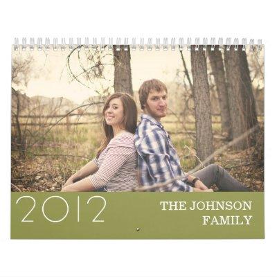 Stylish Green Design 2012 Wall Calendar
