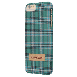 Stylish Green Fabric Plaid Tartan Pattern Barely There iPhone 6 Plus Case
