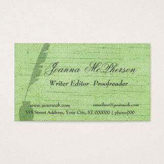 Stylish Green Feather   Writer Journalist Business Card