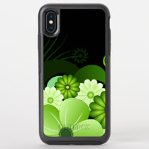 Stylish Green Floral Hibiscus Tropical Flowers OtterBox Symmetry iPhone XS Max Case
