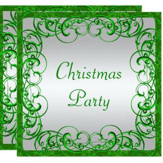 Stylish  Green Flourishes & Swirls Christmas Card