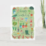 👍 Stylish Chickens In The Garden Happy Birthday Card