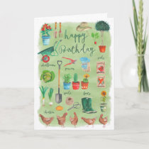 Stylish Green Gardening Garden Happy Birthday Card
