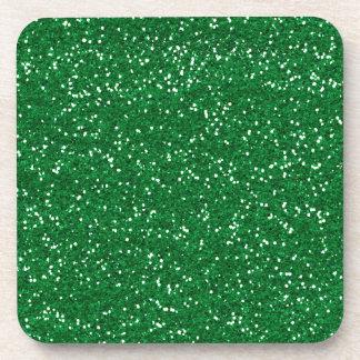 Stylish Green Glitter Beverage Coaster