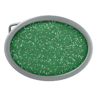 Stylish Green Glitter Oval Belt Buckle