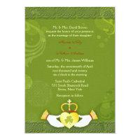 Stylish Green & Gold Rustic Irish Wedding Invitation