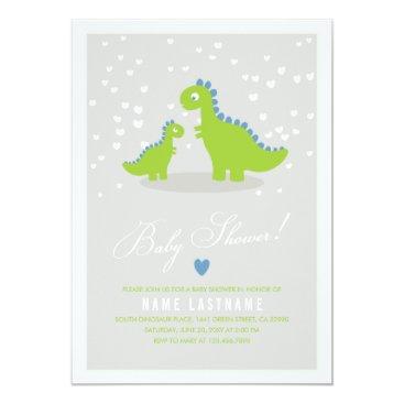 Toddler & Baby themed Stylish Green Grey Dinosaur Baby Shower Invitation
