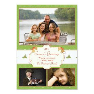 Stylish green holly 3 photo Christmas holiday card