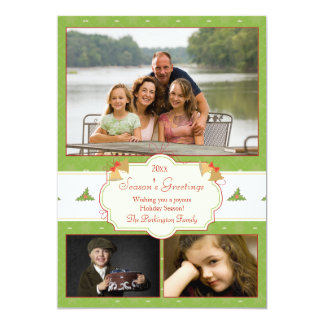 Stylish green holly 3 photo Christmas holiday card Personalized Announcements