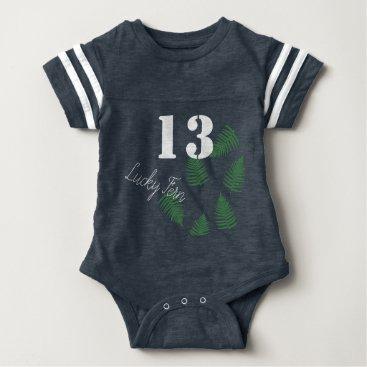 loscrazyavocados Stylish Green Kid Lucky 13 Fern Baby Bodysuit