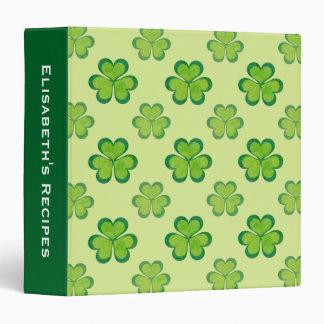Stylish Green Lucky Shamrocks Clovers Pattern Binder