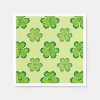 Stylish Green Lucky Shamrocks Clovers Pattern Standard Cocktail Napkin