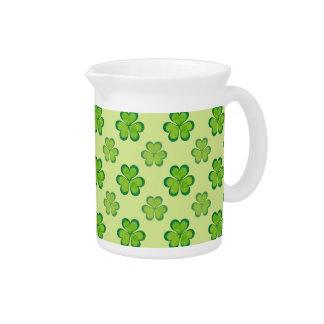 Stylish Green Lucky Shamrocks Clovers Pattern Pitcher